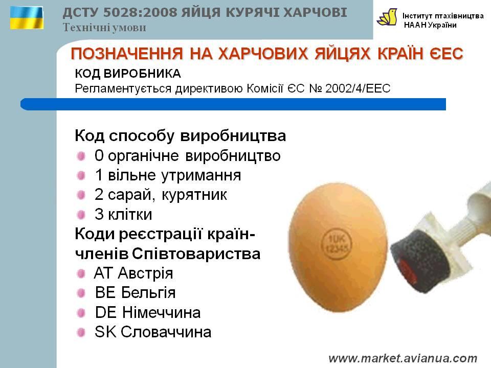 Позначення на харчових яйцях країн ЄЕС
