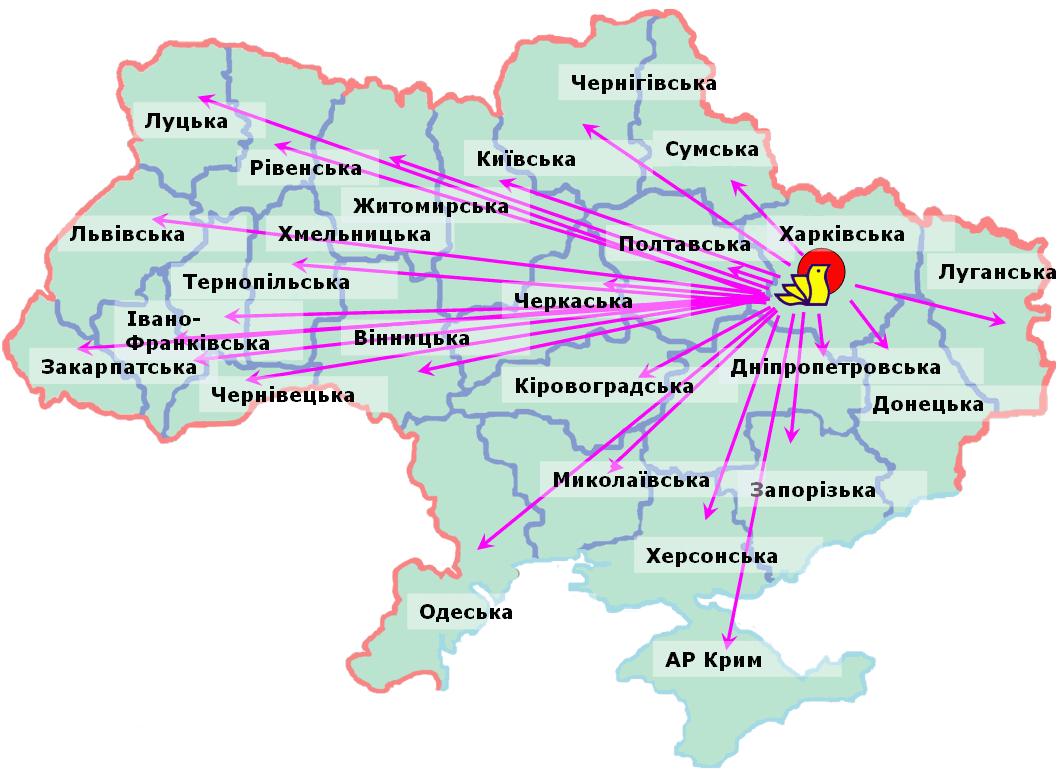 Мапа впроваджень розробок Інституту птахівництва НААН України